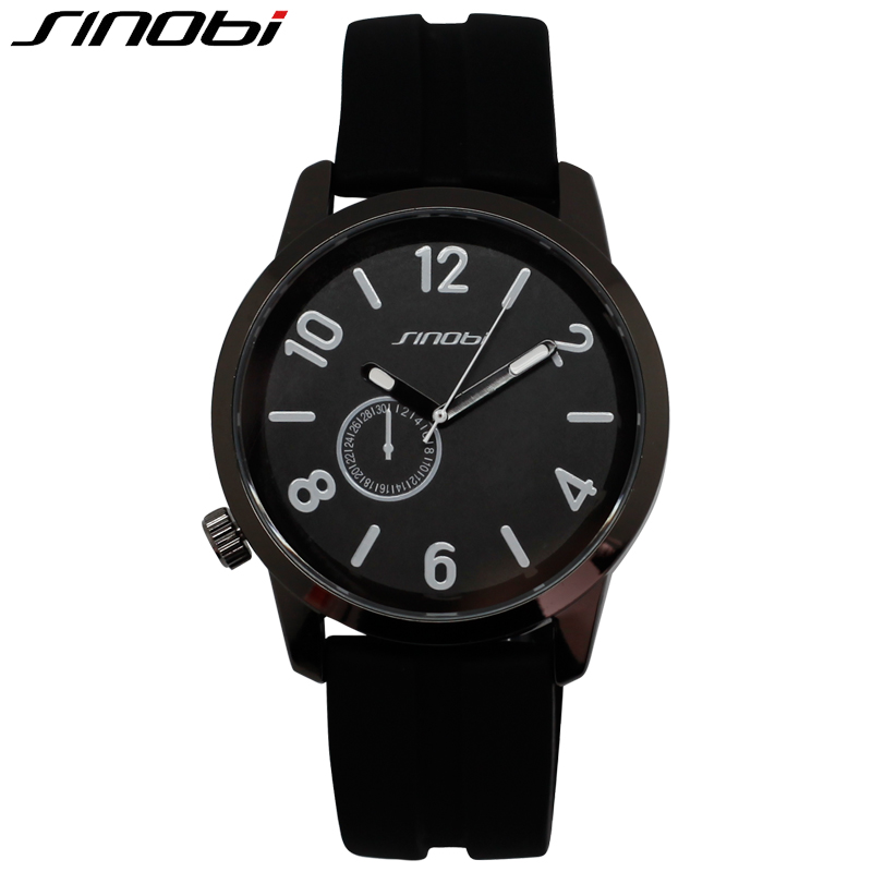 SINOBI Sport Black Casual Quartz Watch For Man Outdoor Fashion Silicone Band New Design 2016 Wristwatch Tavel Wholesale Watches(China (Mainland))