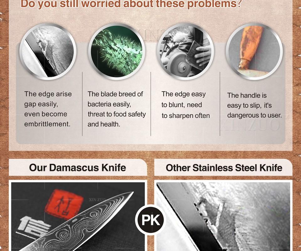 Buy XINZUO 2 pcs kitchen knife set Japanese Damascus kitchen knife profession Japanese chef paring  knife wood handle free shipping cheap