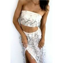 Buy New Summer Two Piece Set Women Sexy Tassel Sequins Strapless Tube Bandeau Bralette Crop Top Slit High Waist Maxi Long Skirt Sets for $17.66 in AliExpress store