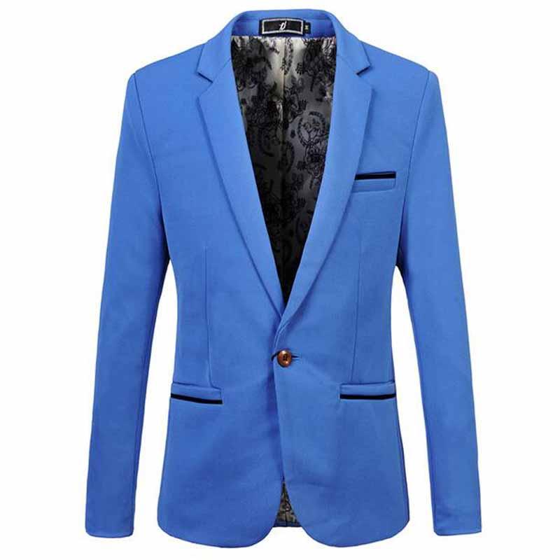 Mens Korean slim fit fashion cotton blazer Suit Jacket black blue beige plus size M to 6XL Male blazers Mens coat Wedding dress(China (Mainland))