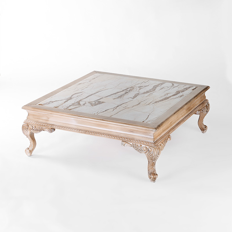 French Riviera Coffee Table Book: French European Imported White Color Hand Carved Wooden