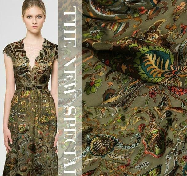 Cashew Printing New Fashion DIY Burn-Out Raw Silk Fabric(China (Mainland))