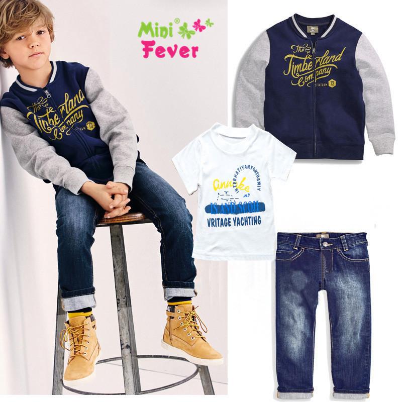 2015 nouveau printemps garçons beaux jeans porter des vêtements enfants costumes enfants garçons veste + T - shirt + denim pantalons 3 pcs vêtements ensemble(China (Mainland))