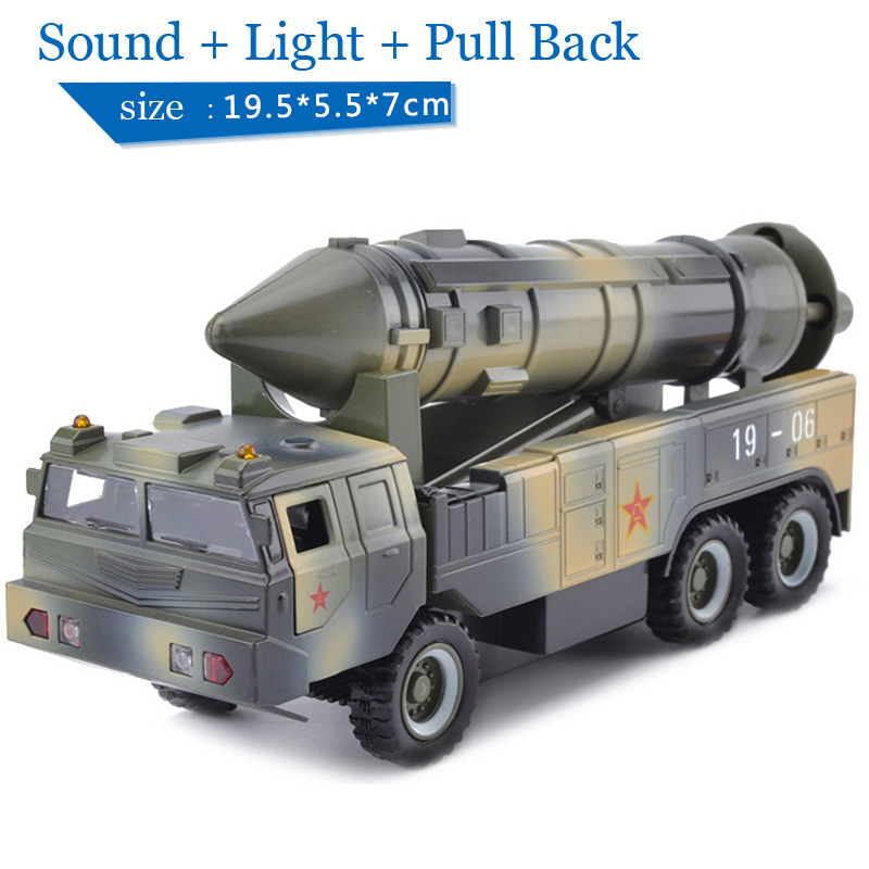Children Lights & Sound 19-06 Missile Launch Vehicle 1:32 Diecast Car Military Model Toy Pull Back(China (Mainland))