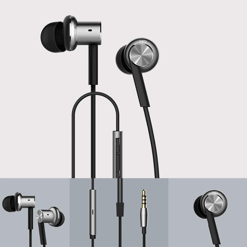 CN  Original XIAOMI Hybrid Piston Dual Driver Earphone Stereo Headphone Headset Circle Iron Noise Cancelling Mic For Samsung
