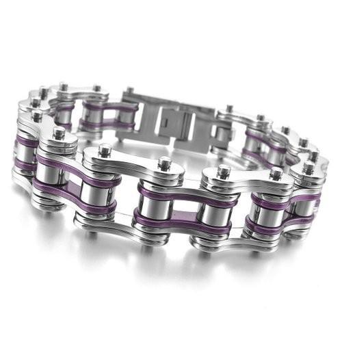 Men's Stainless Steel Bracelet Link Wrist Silver Purple Hollow Openwork Biker Punk Rock,bracelets simple rectangle - Fine jewelry Chinese shop store
