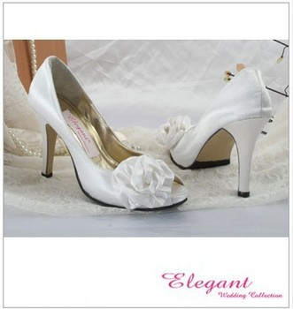 1 pair/lot exquisite custom-made white shoes for wedding EL10024