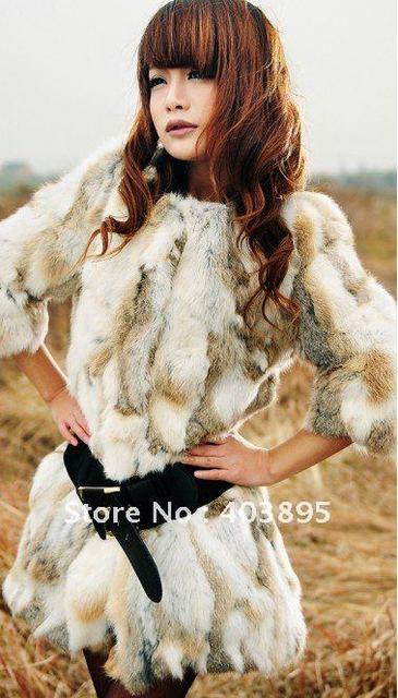 2013 Fashion trend women's fur coat,100% natural rabbit fur costumes design professionally