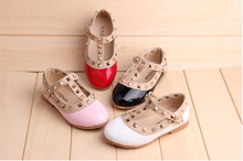 2015 Newest Fashion Infant Toddler Girls Kids Rivet Buckle Princess Dance Flat Baby Shoes First Walker PreWalker Shoes(China (Mainland))