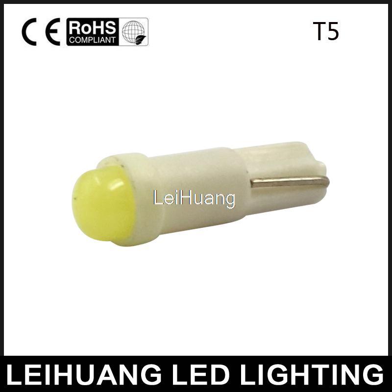 20pcs T5 1 led smd Ceramic Dashboard Gauge Instrument Ceramic Car Auto Side Wedge Light Lamp Bulb DC12V(China (Mainland))
