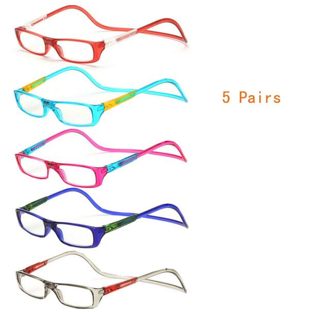5-Pairs Mix Fashion New Magnetic Reading Glasses Click Hang Around Never Loose again +1.0 1.5 2.0 2.5 3.0 3.5(China (Mainland))