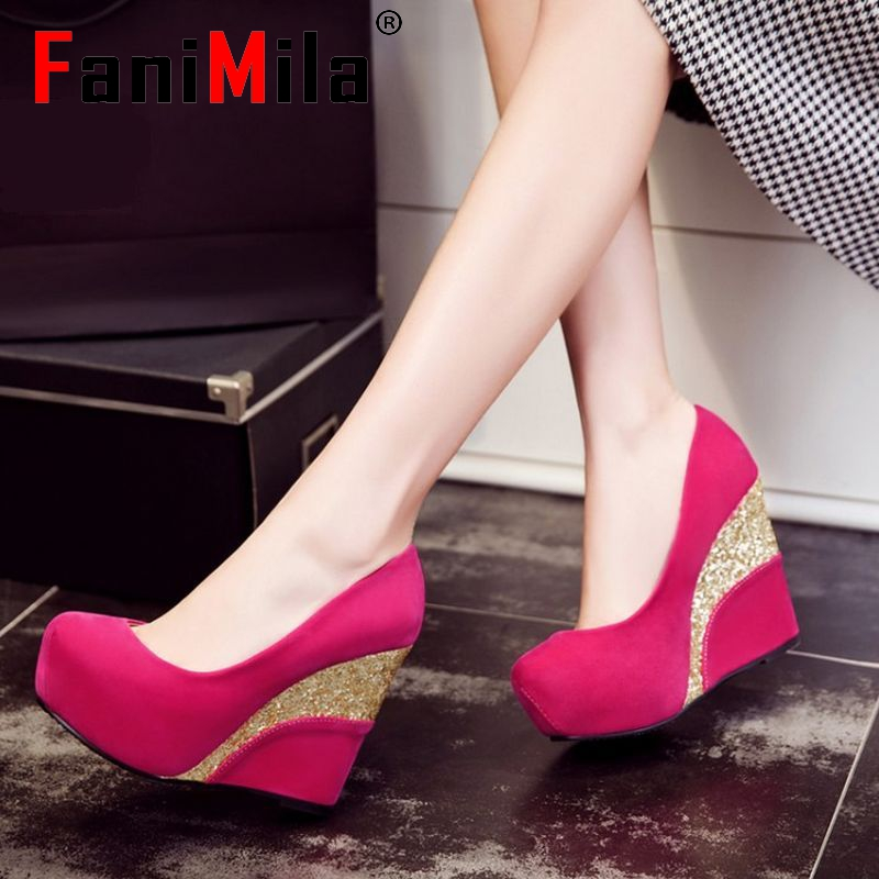 women wedges shoes spring ladies fashion quality sexy round toe footwear concise platform fashion heels shoes size 33-40 P23454
