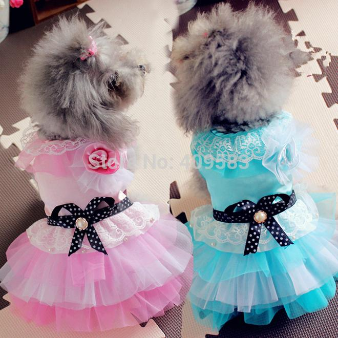 2015 New Dog Summer Dress Wholesale Blue Pink Purple Rose With Bows Lace Senior Princess Pet Apparel For Chihuahua Yorkshire(China (Mainland))
