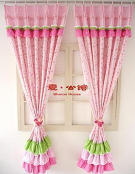 Rustic color block customize curtain finished products piaochuang princess child eco-friendly curtain ruffle