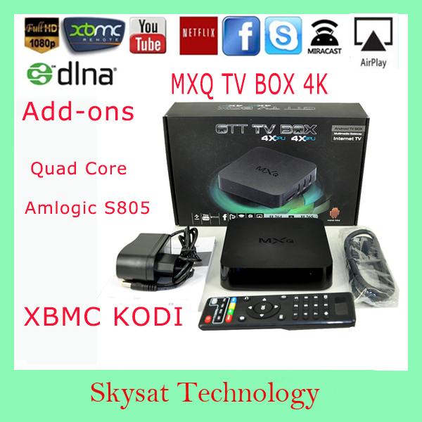 Hot!!!! XBMC MXQ TV Box KODI Add Ons Amlogic S805 1080p Android KitKat 4.4 HDMI Quad Core Coretex-A5 Mali-450 WIFI Media Player(China (Mainland))