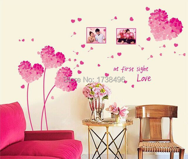 Heart 3d wall stickers pink love decoration heart wall for Home decor 2 love
