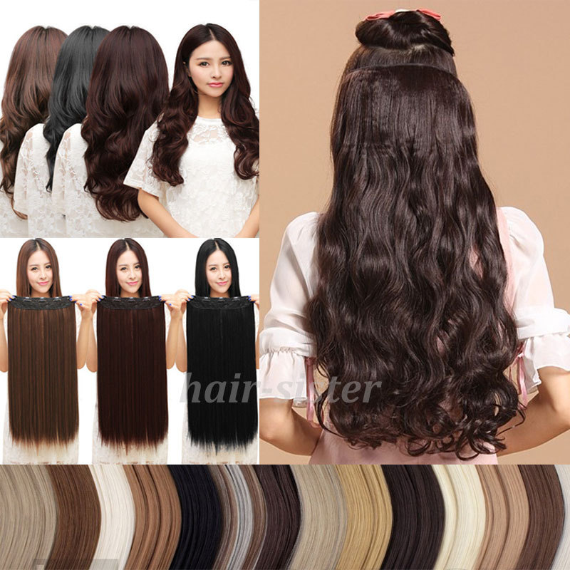 FACTORY PRICE! Local Shipping Long Curly/Wavy Clip in Hair Extensions Half Full Head One Piece Brown Blonde 2015 HOT STYLE(China (Mainland))