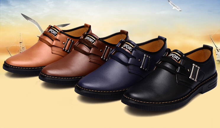 Spring / Autumn Men's casual genuine leather shoes men lace- round toe flats - A chun's store