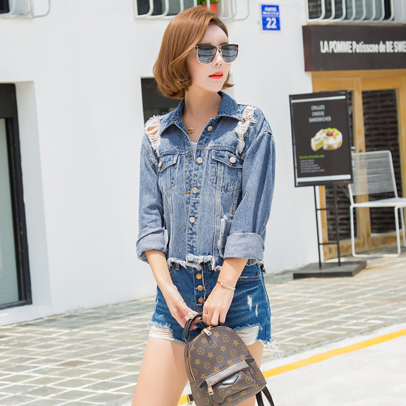 new arrived autumn Spring Coat Jackets woman denim Fashion long sleeves Slim Hole Pattern Single Breasted upper outer garment(China (Mainland))