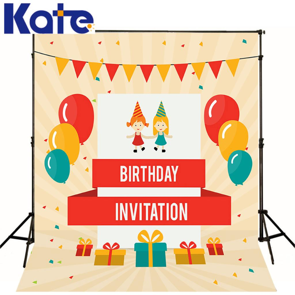 Birthday Children Invitation backdrops Balloons gift flags vinyl background can be customized personal photo studio katehome2016(China (Mainland))