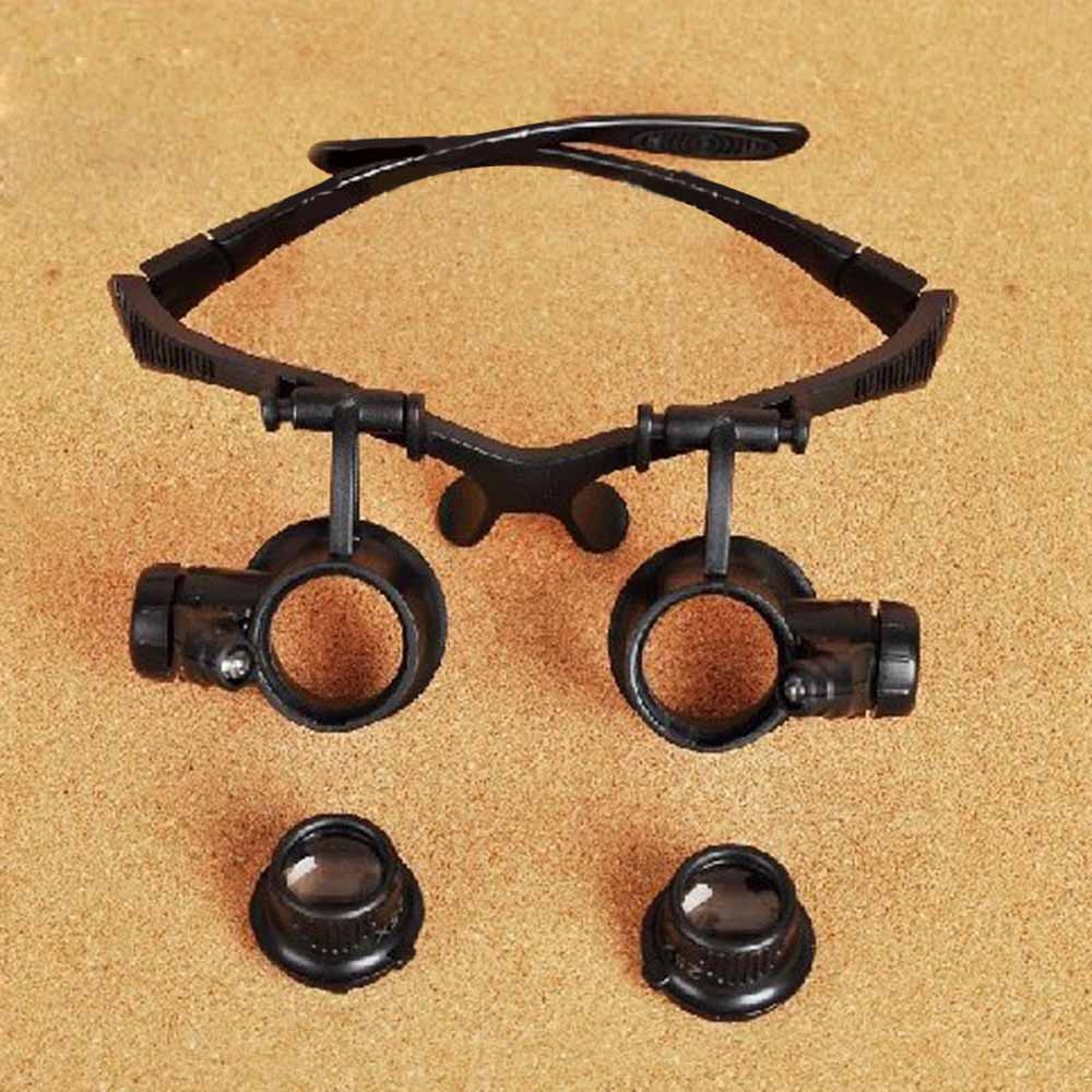 10X 15X 20X 25X Portable Eyewear Magnifier Folding Watch Repair Glasses Loupe Magnifying Glass with LED Light Optical Instrument(China (Mainland))