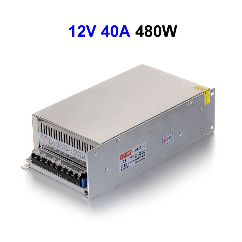 ( 30 pcs/lot ) DC12V 40A 480W Switching Power Supply Driver Transformer For LED Light Display CNC 3D Print LCD Monitor CCTV<br><br>Aliexpress