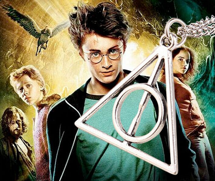 wholesale 60pcs gold/silver plated Luna Harry Potter Necklace Deathly Hallows Pierced triangle pendant necklace men women