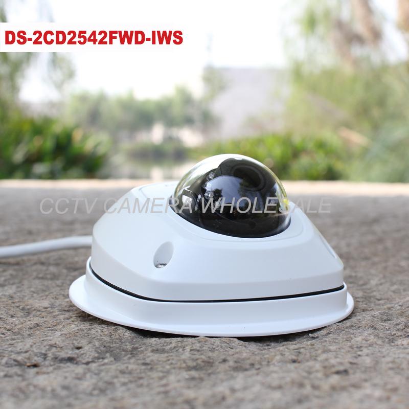 Hikvision English version 4MP mini dome ip camera audio alarm, 10m IR 1080P p2p cctv security camera POE WIFI DS-2CD2542FWD-IWS(China (Mainland))