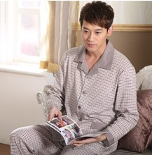 Men's Pajamas Spring Autumn Long Sleeve Sleepwear Cotton Plaid Cardigan Pyjamas Men Lounge Pajama Sets Plus size 4XL 5XL Sleep(China (Mainland))