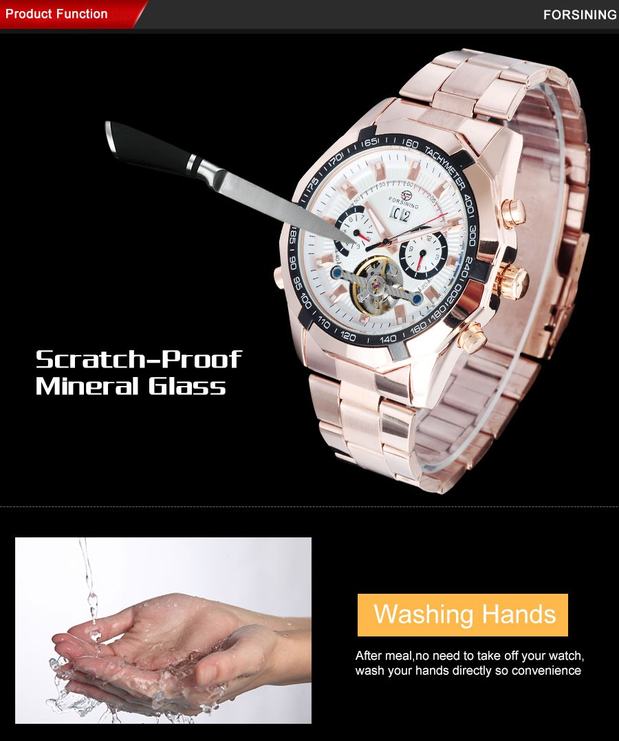 FORSINING мужская мода механическая турбийон часы из нержавеющей стальной ленты роскошные скелет золото наручные часы relógio masculino
