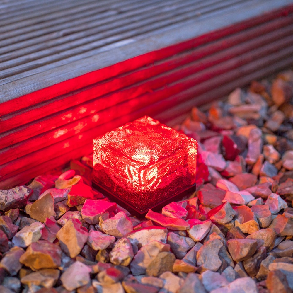 IP65 7*7 Crystal glass solar powered light stepping stone outdoor garden decorate energy lighting colorful solar SBL01 4pcs/lot(China (Mainland))