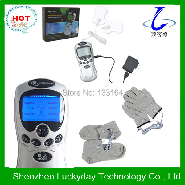 Portable electic therapy tens digital massager with pads gloves and socks(China (Mainland))