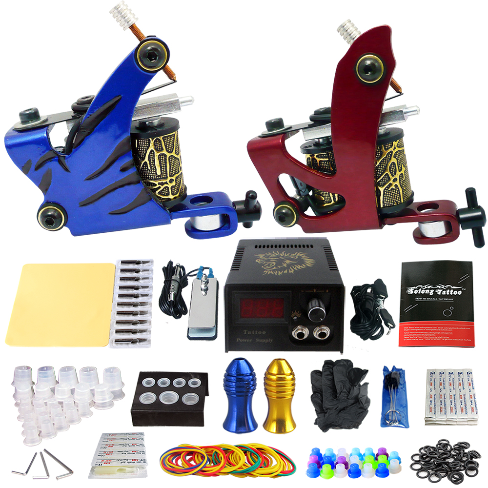 Solong Tattoo Professional Tattoo Kit 2 Guns Machines 50 Tattoo-machine Rubber Bands TK202-4(China (Mainland))
