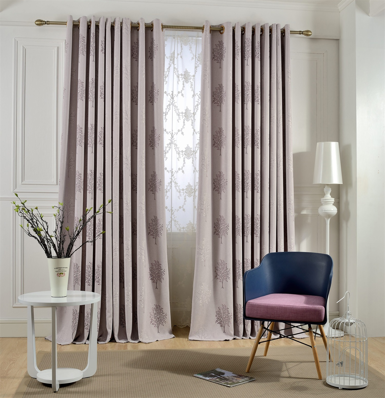 High quality tree embroidered linen blackout curtains for for Cortinas black out