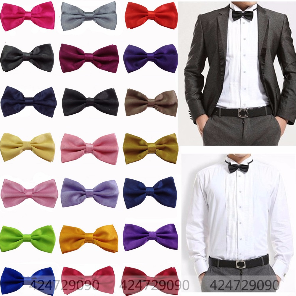 HOT Selling Men's bowties Solid Color Tuxedo Bowtie Wedding Satin Bow Tie Necktie W006(China (Mainland))