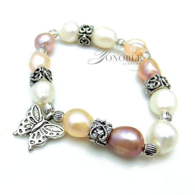 Старинные природный жемчуг браслет для женщин регулируемые браслеты бабочка пресноводным ...