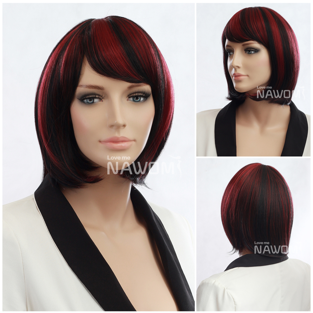 2015 Synthetic wig kanekalon like real wigs,black red ombre straight hair wigs cosplay party - Nawomi Wigs store