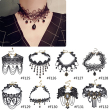 Gothic Victorian Crystal Tassel Tattoo Choker Necklace Black Lace Choker Collar Vintage Women Wedding Jewelry(China (Mainland))
