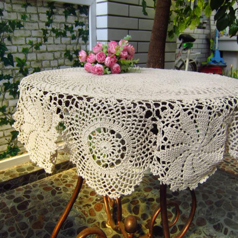 home beige color handmade crochet tablecloth vintage hollow tablecloth weave table cover home. Black Bedroom Furniture Sets. Home Design Ideas