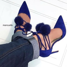 Gorgeous Women Blue Suede Faux Fur Pompom Stiletto Heels Pumps Sexy Pointed Toe Lace Up Dress Shoes Women Stylish Pumps Hot Sell(China (Mainland))