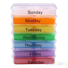 Medicine Weekly Storage Pill 7 Day Tablet Sorter Box Container Case Organizer Health Care 02YA 4BTP(China (Mainland))