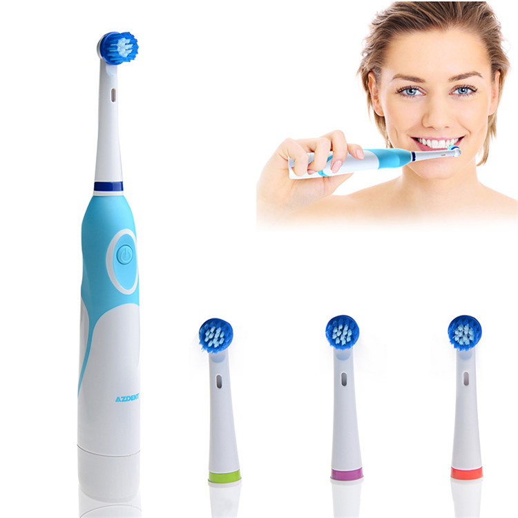 Fashion 2015 Battery Operated Electric Toothbrush with 4 Brush Heads Oral Hygiene Health Products No Rechargeable Tooth Brush(China (Mainland))