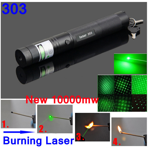 High Powered Lazer 303 532nm Green Laser 303 10000mW Green Laser Pointer Pen Zoom Burning Matchs With Star Filter(China (Mainland))