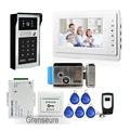 FREE SHIPPING 7 LCD Screen Video Intercom Door Phone System Outdoor RFID Code Keypad Doorbell Camera