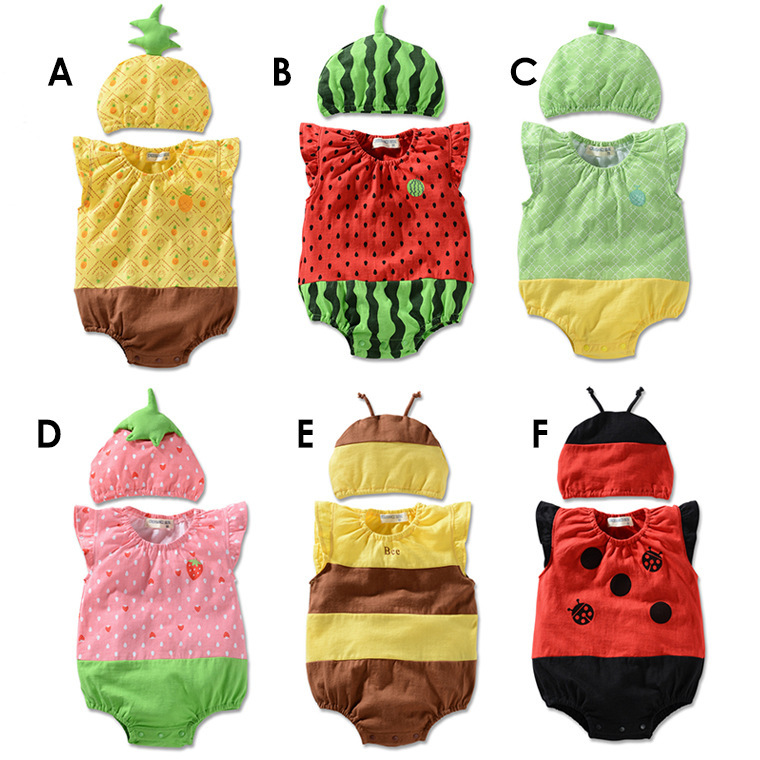HOT 100% cotton Summer fruits shall vest Romper suit infant baby climbing clothes + hat(China (Mainland))