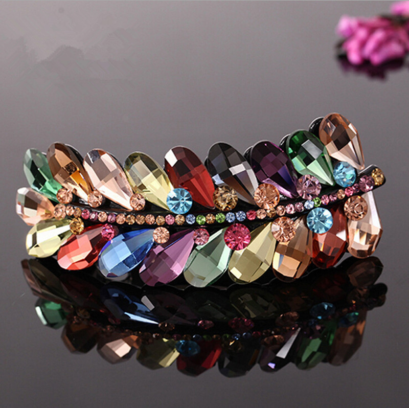popular 2015 colorful crystal hair accessorie rhinestone leaf for women barrette leaves hair pins and clips RM219(China (Mainland))
