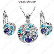 6sets a lot, Wholesale Diskey Jewelry Set 18K White Gold Plated Austrian Crystal Purple Blue Mickey Necklace earring Set S138W1(China (Mainland))