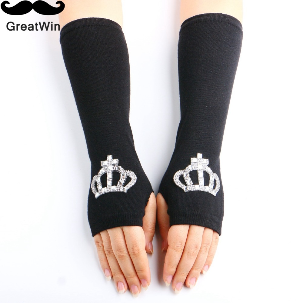 2016 Fashion Women Gloves Girl warm Arm Warmer Rhinestone Cotton Long Fingerless Half Finger Summer Driving UV Cuff Arm Warmers(China (Mainland))