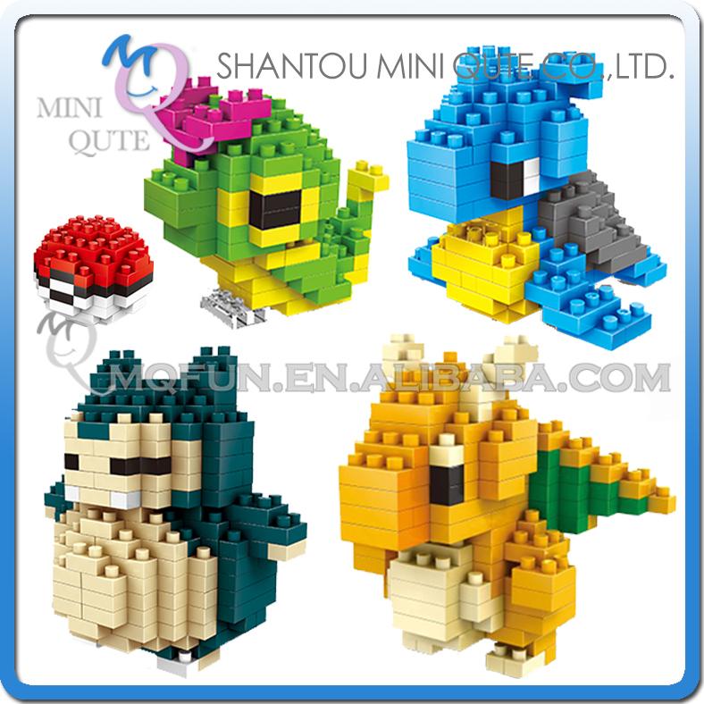 4pcs/lot Mini Qute Kawaii 4 styles WISE HAWK boys Anime pokemon Dragonite diamond plastic cube building blocks educational toy<br><br>Aliexpress