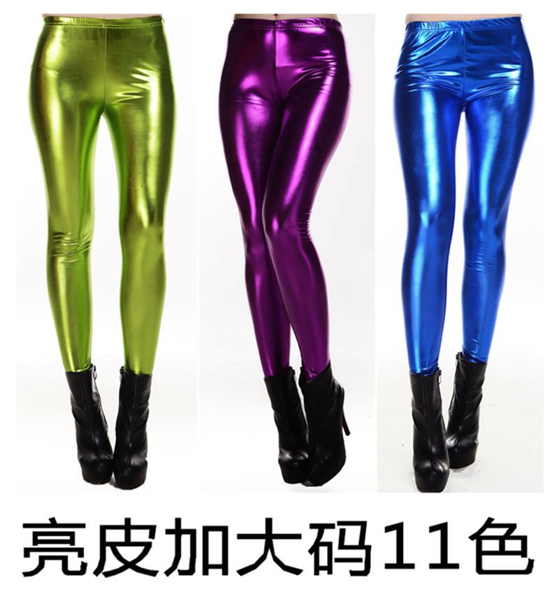 winter plus size PU metalic color leather leggings pants women's skinny slim women boots - free city store